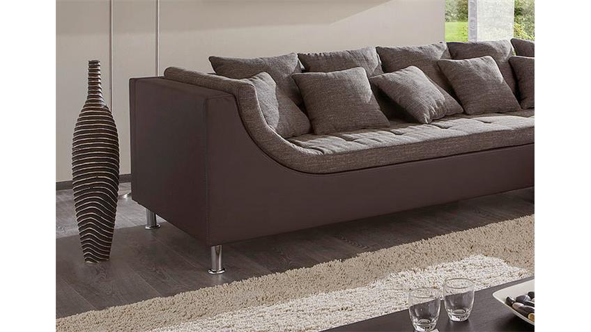 Ecksofa MONTEGO Sofa mit Ottomane in braun 6 Rückenkissen