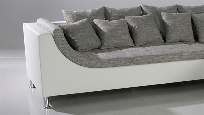 Ecksofa MONTEGO in grau und weiß mit Kissen 326x213 cm