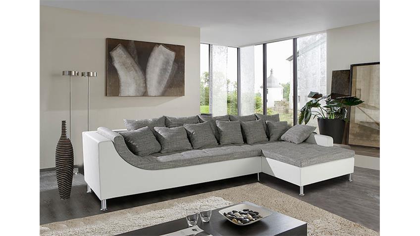 Ecksofa MONTEGO Sofa Ottomane weiß grau mit 6 Rückenkissen