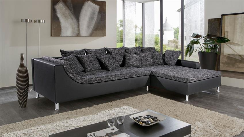 Ecksofa MONTEGO anthrazit schwarz mit Kissen 326x213 cm