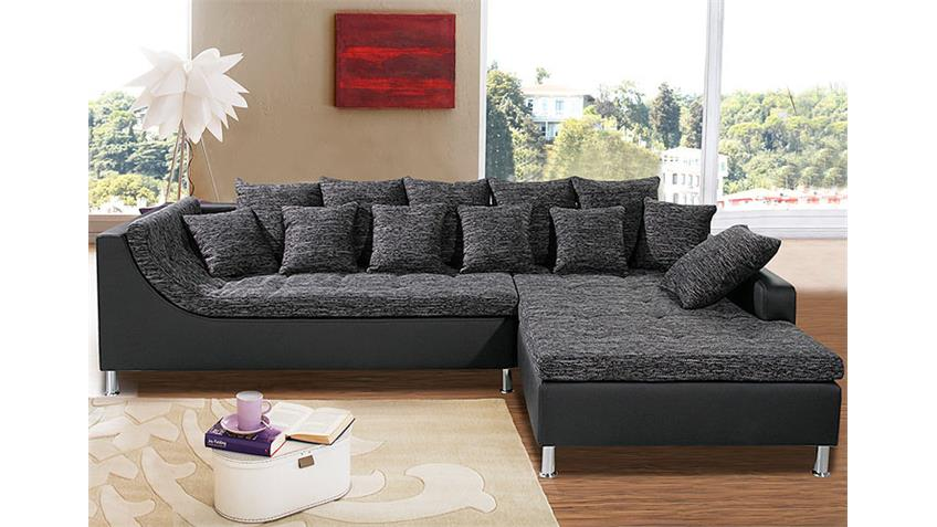 ecksofa montego sofa mit ottomane schwarz anthrazit 6 kissen. Black Bedroom Furniture Sets. Home Design Ideas