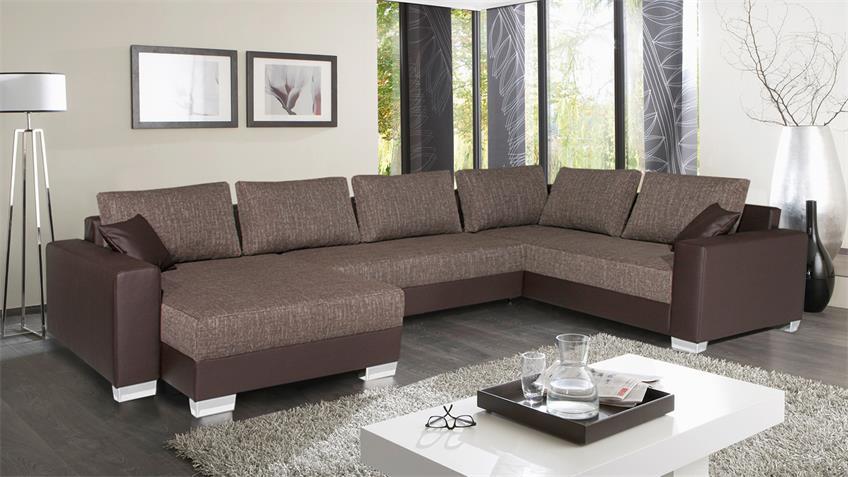 Wohnlandschaft ABBY Ecksofa Sofa braun mit Bettfunktion