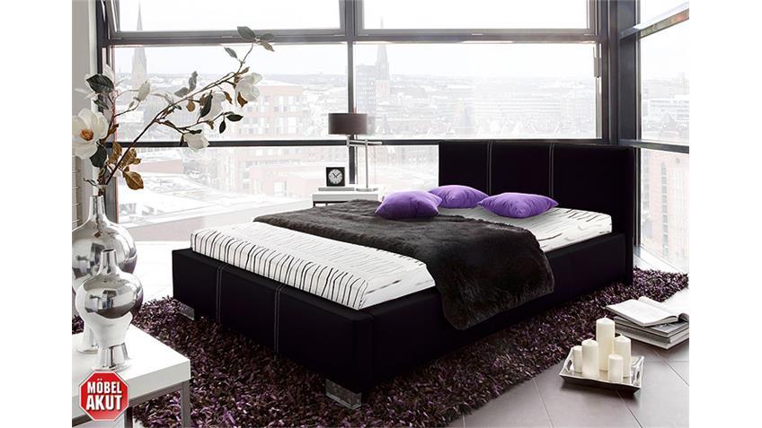 Polsterbett LANDRO Bett in weiß mit Ziernähten 140x200 cm