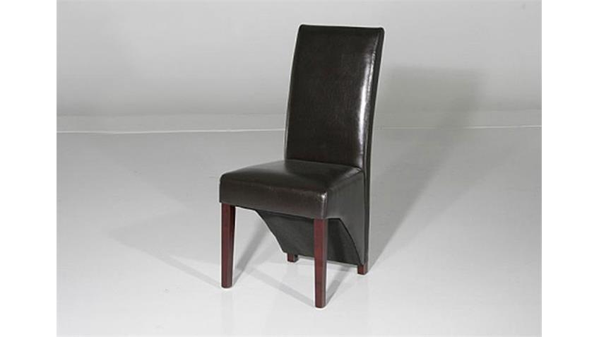 Stuhl JANA Polsterstuhl in braun Beine in Wenge 6er Set
