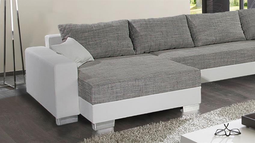Wohnlandschaft ABBY Sofa in weiß und grau mit Bettfunktion