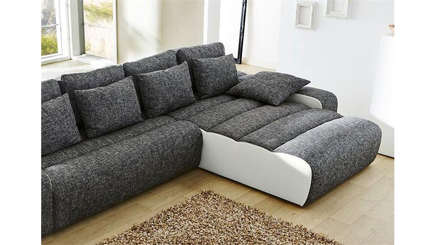 ecksofa milia sofa mit bettfunktion in wei und hellgrau. Black Bedroom Furniture Sets. Home Design Ideas