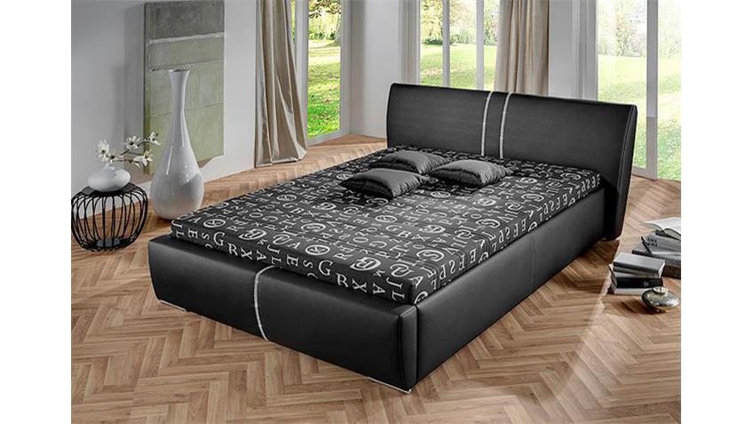 Bett PERRY Futonbett in schwarz mit Strasssteinen 140x200