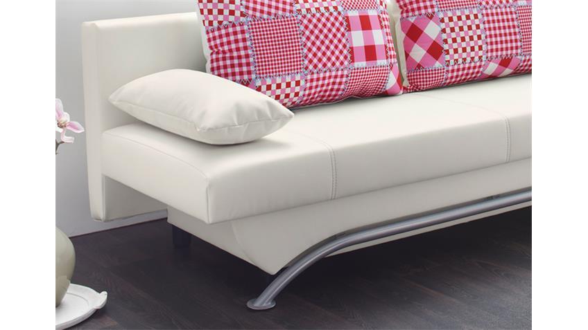 Schlafsofa NANCY Sofa Funktionssofa in weiß rosa und rot