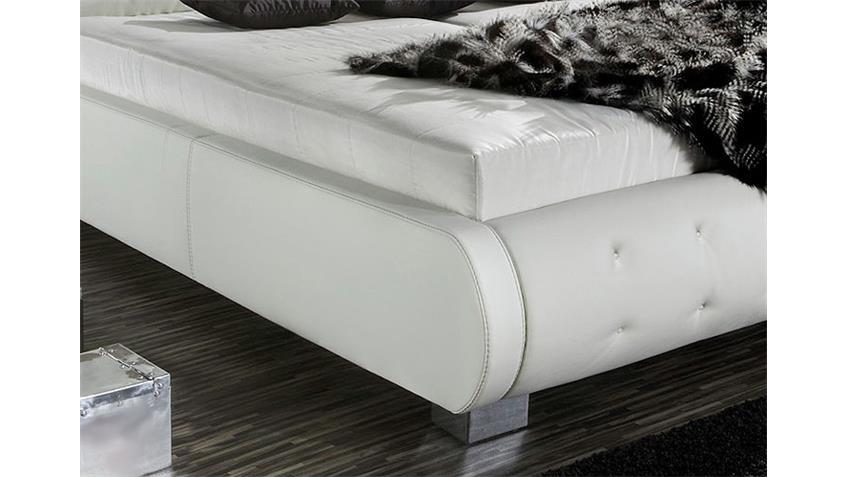 Polsterbett NELIO Bett in weiß Lederlook 180x200 cm