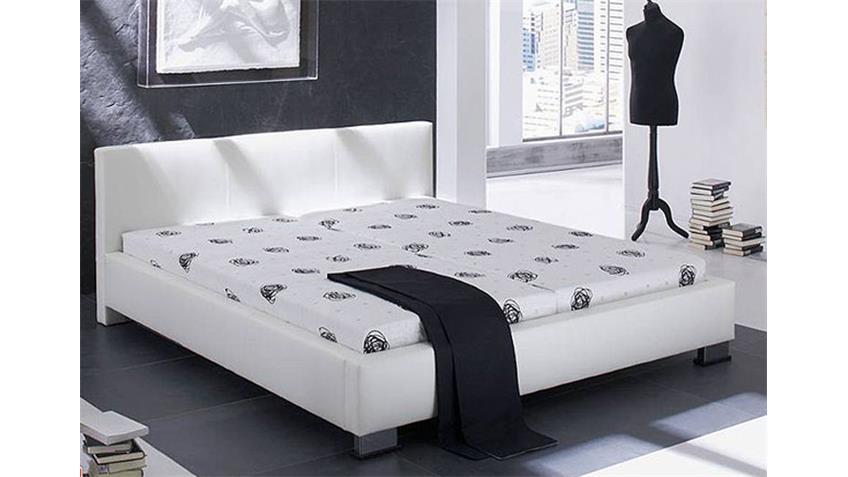 Polsterbett LANDRO Bett in weiß mit Ziernähten 160x200 cm