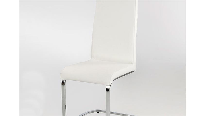 Schwingstuhl EUGEN 4er Set Weiß und Chrom