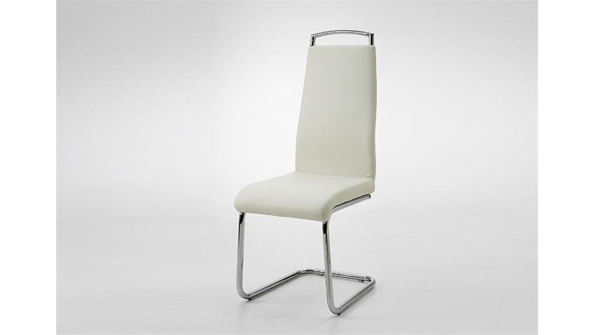 Schwingstuhl BILL 4er Set Polsterstuhl in Weiß und Chrom