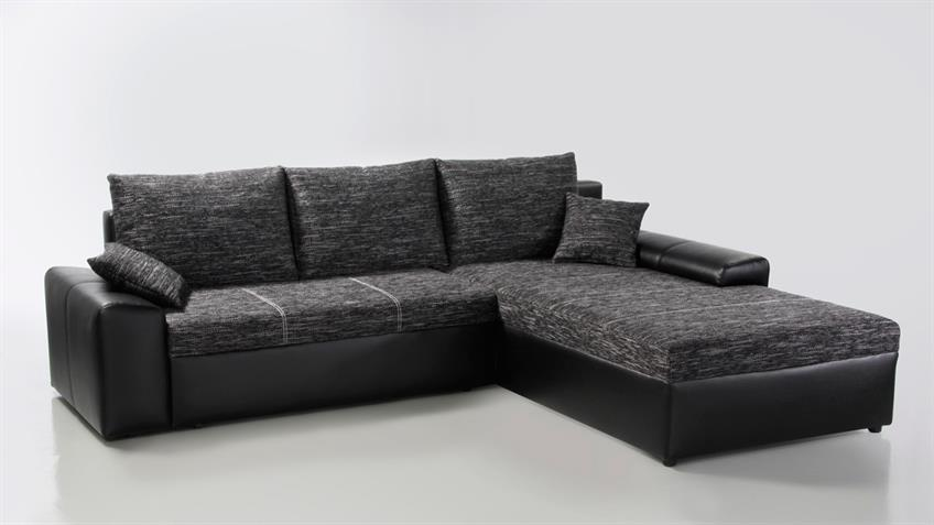 Ecksofa SNAKE Webstoff anthrazit Sofa mit Bettfunktion