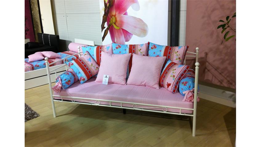 Futonmatratze 90 x 200cm Bezug Design kariert weiß rosa