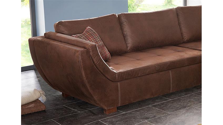 ecksofa nolda wohnlandschaft sofa antik braun mit 5 kissen. Black Bedroom Furniture Sets. Home Design Ideas
