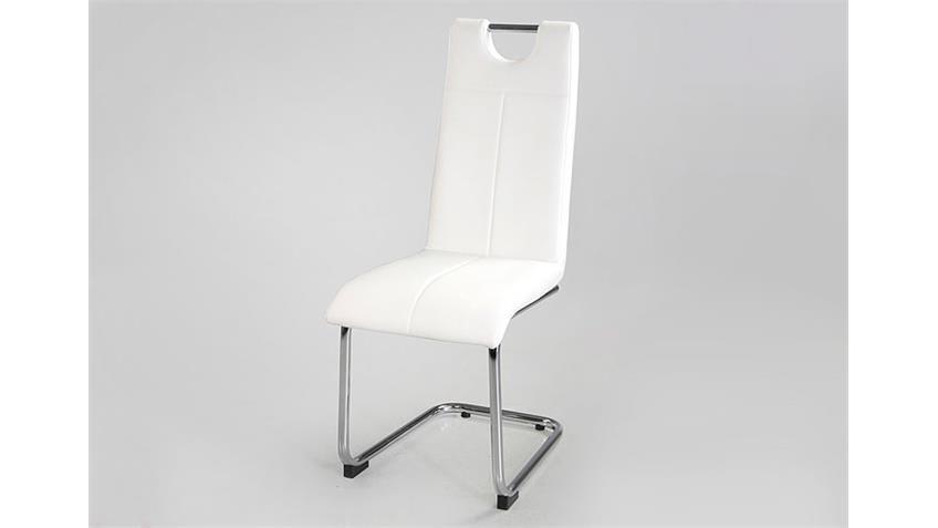 Stuhl LARA 4er Set Schwingstuhl Freischwinger in weiß