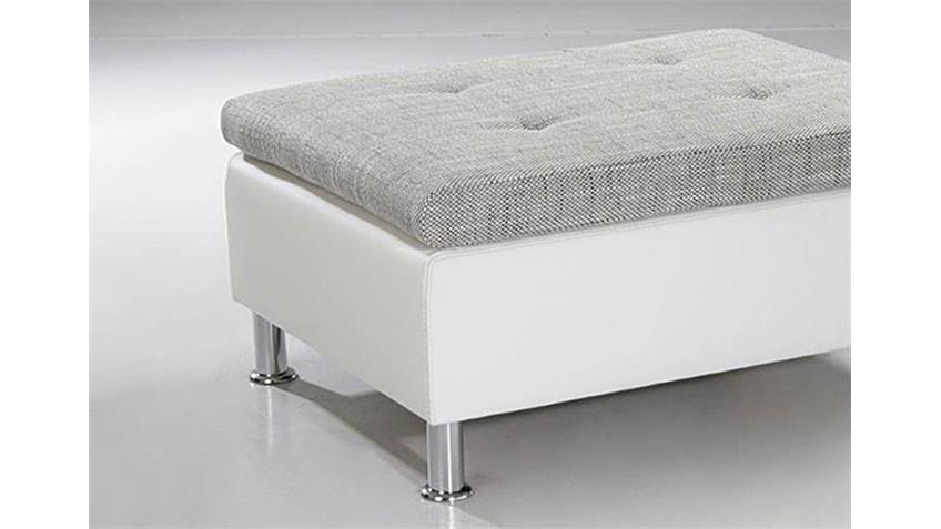 Hocker MONTEGO Polsterhocker Sitzhocker in weiß und grau
