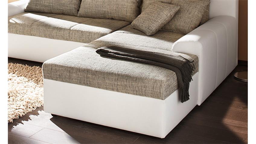 Ecksofa SNAKE Webstoff grau Sofa weiß mit Bettfunktion