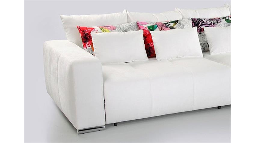 Sofa COSIMO Bigsofa Schlafsofa in weiß mix Grafitti 298 cm