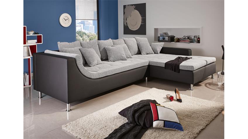 Ecksofa MONTEGO Sofa mit Ottomane schwarz grau 6 Rückenkissen