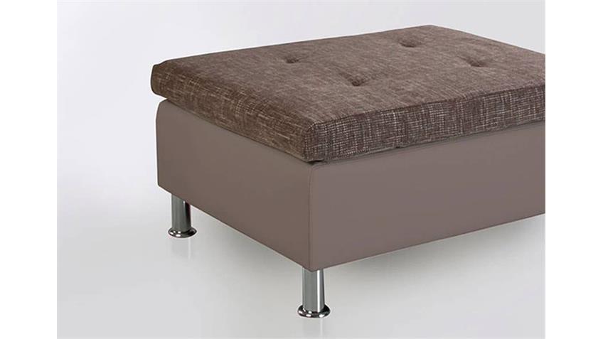 Hocker MONTEGO Sitzhocker Polsterhocker in grau und braun