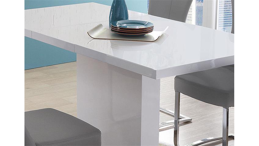 Esstisch PAMELA Weiß Hochglanz Lack Edelstahl 120(160)x80