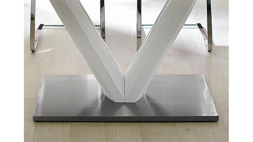Esstisch VANESSA 160x90 weiß hochglanz Edelstahl ausziehbar