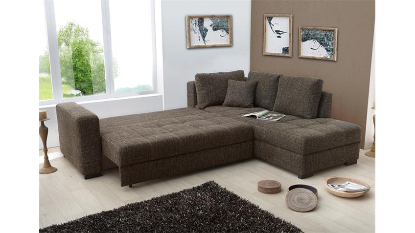 Ecksofa AURA Strukturstoff braun Gästebett und Bettkasten