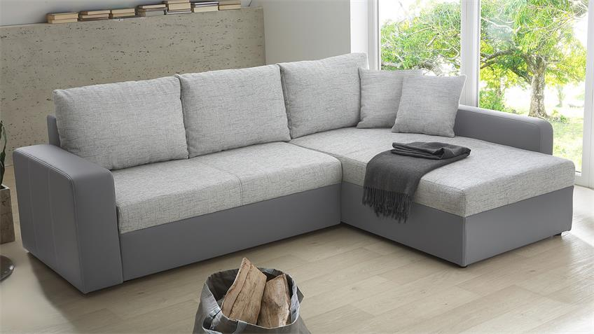 Ecksofa VIPER Sofa in grau mit Bettfunktion und Kissen