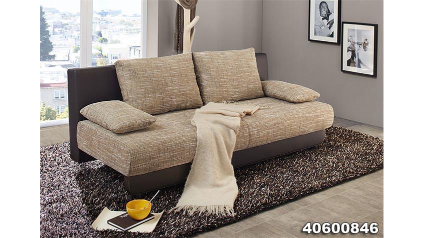 Schlafsofa MYCO Sofa mit Bettkasten in Schwarz und Grau