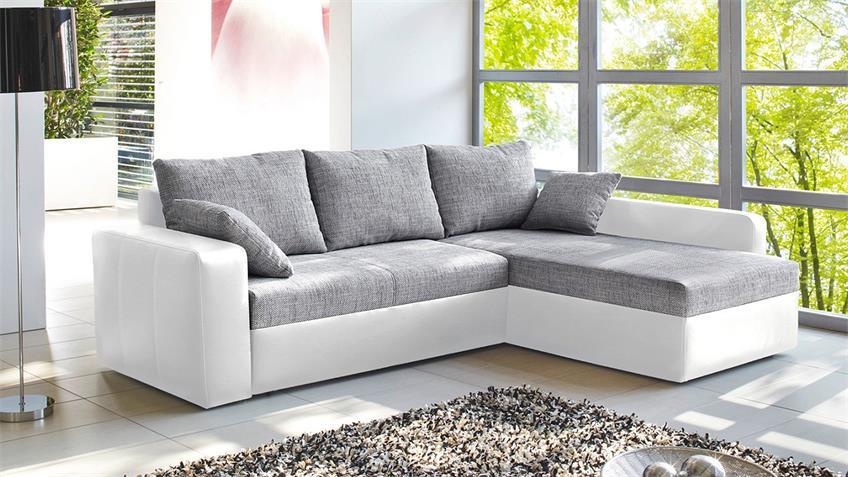 Ecksofa VIPER Sofa in weiß und grau mit Bettfunktion