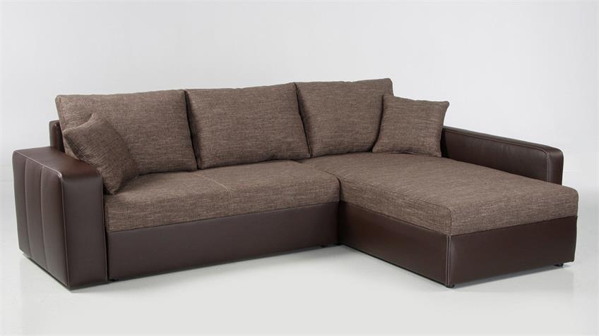 Ecksofa VIPER Sofa in braun mit Bettfunktion und Kissen