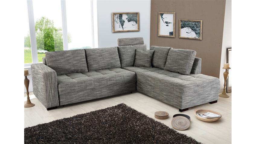 Ecksofa AURA Strukturstoff grau mit Gästebett und Bettkasten