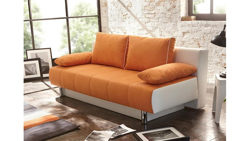 Schlafsofa SANTORIN Sofa mit Bettkasten in Orange und Weiß