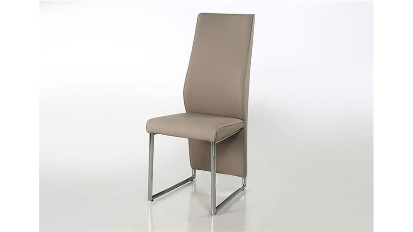 4er Set Stuhl PEPE Lederlook Greige Beige-Grau
