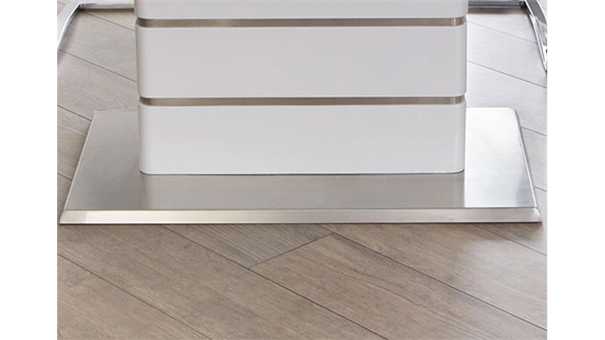 Esstisch ALANDO weiß Edelstahl ausziehbar 160/200x90 cm
