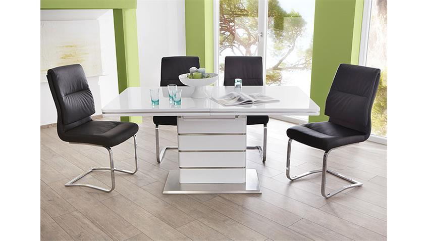 Tischgruppe ALANDO MALTE Tisch weiß Hochglanz Stuhl schwarz