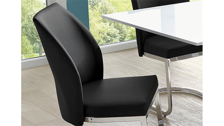 Stuhl PABLO 4er Set Schwingstuhl schwarz Gestell Chrom