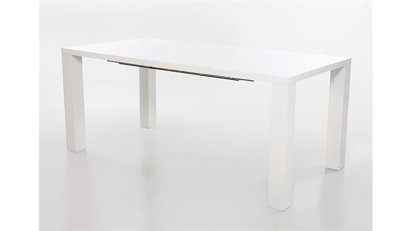 Esstisch ELKE weiß Hochglanz ausziehbar 120/160x90 cm