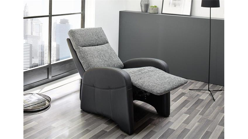 TV Sessel MARCEL in Schwarz und Strukturstoff Grau