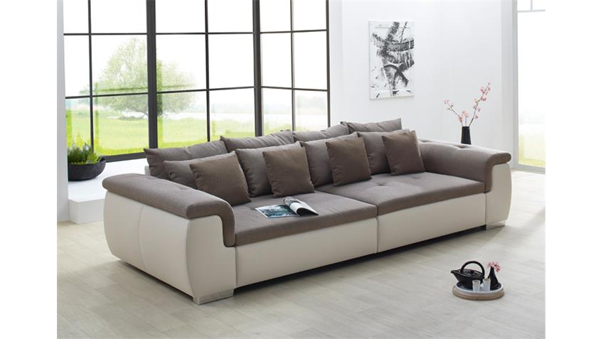 Big Sofa BIG POINT Creme Webstoff Beige Braun