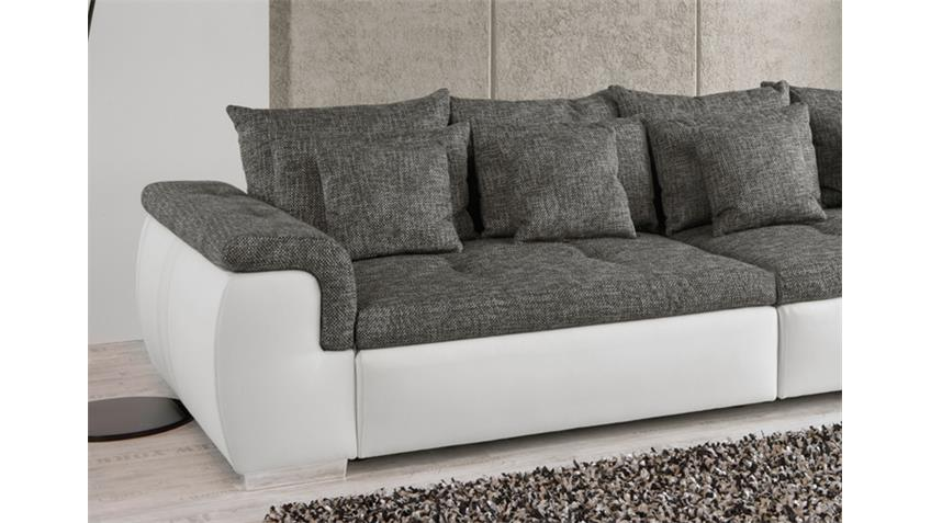 Big Sofa BIG POINT Weiß und Webstoff Anthrazit