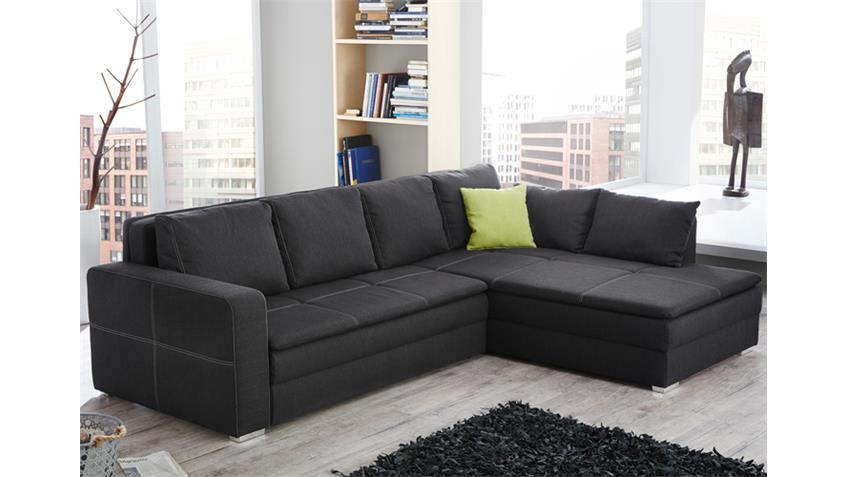 ecksofa domino stoff dunkelgrau mit funktion produktvideo. Black Bedroom Furniture Sets. Home Design Ideas