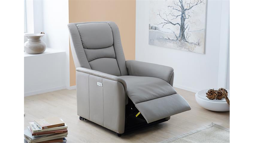 TV Sessel RENO Grau-Beige elektrisch mit Touch-Panel