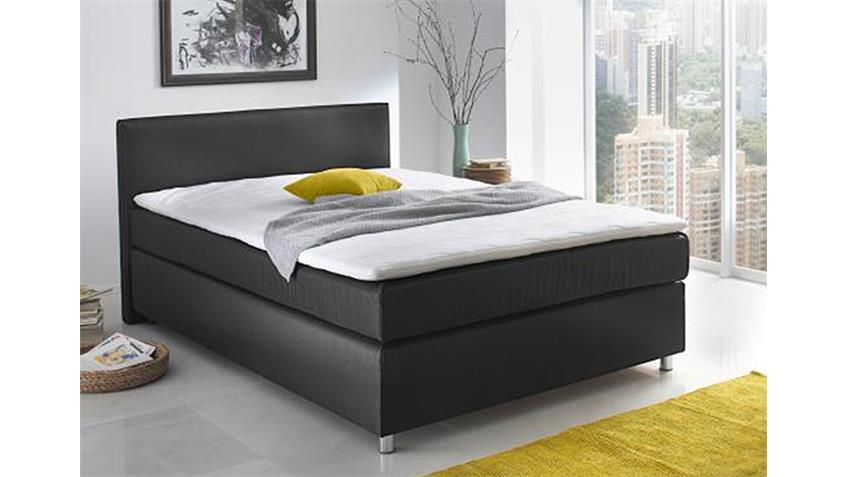 Boxspringbett TOCA Schlafzimmerbett in schwarz 140x200 cm