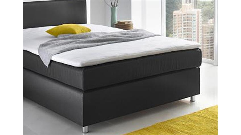 boxspringbett toca schlafzimmerbett in schwarz 140x200 cm. Black Bedroom Furniture Sets. Home Design Ideas