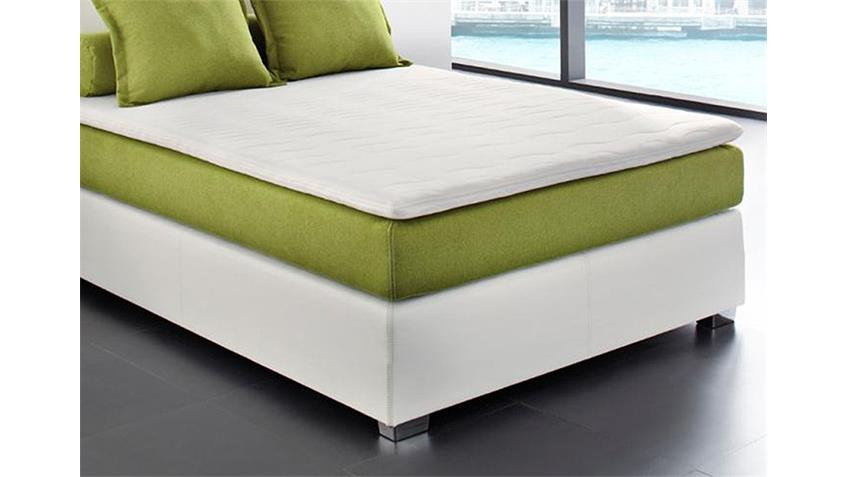 Boxspringbett OSAL Schlafzimmerbett in weiß grün 140x200 cm
