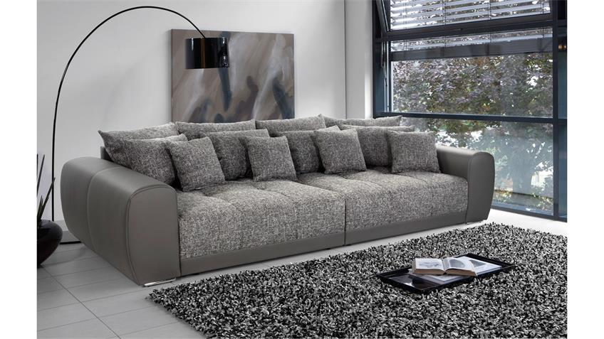 Big Sofa MOLDAU XXL Megasofa in grau hellgrau mit Kissen