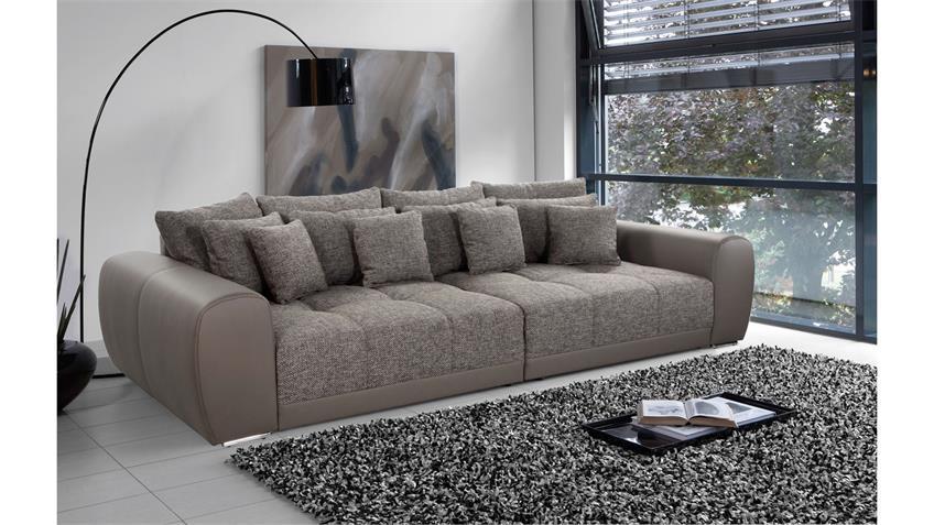 Big Sofa MOLDAU XXL Megasofa elefant schlamm mit Kissen