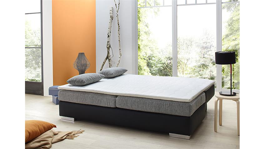 Schlafsofa DORSET Sofa Boxspring in schwarz grau 202 cm